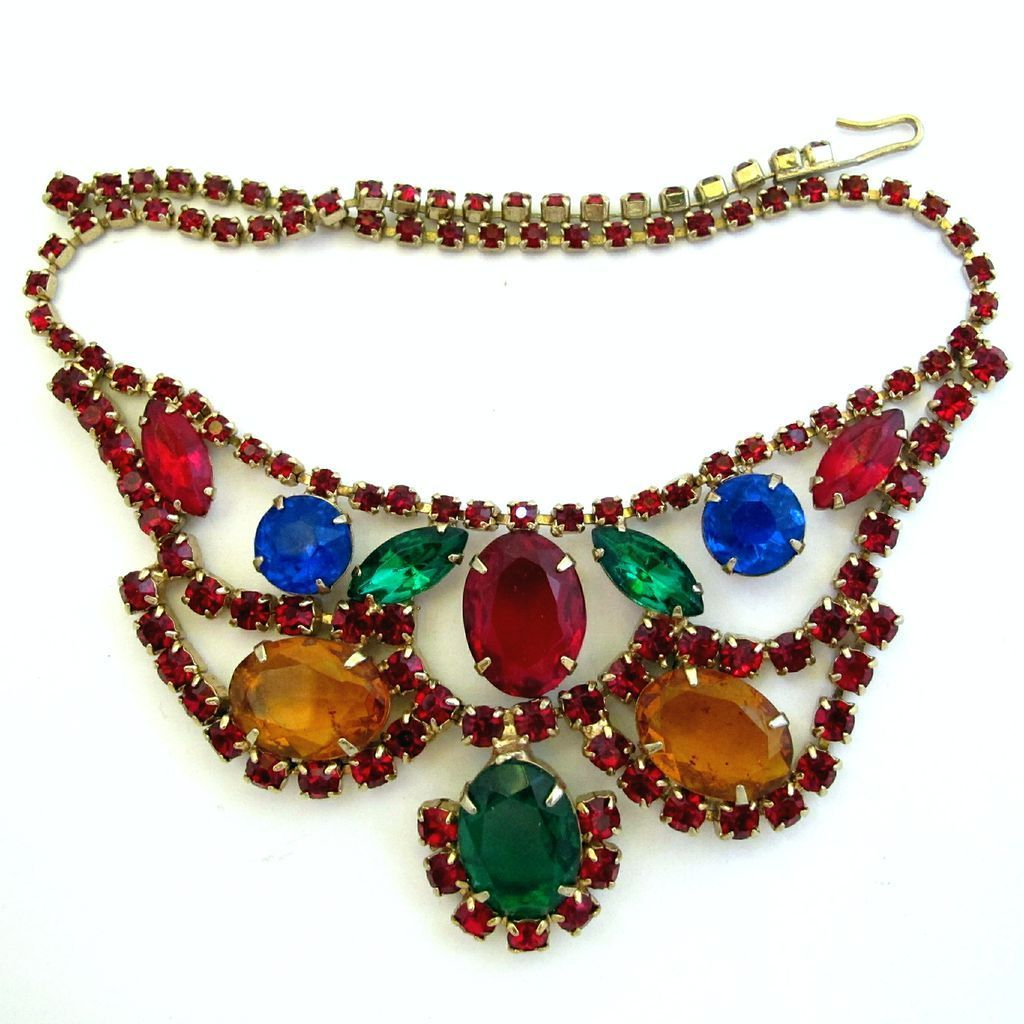 Jewel Colors Special Occasion Rhinestone Necklace