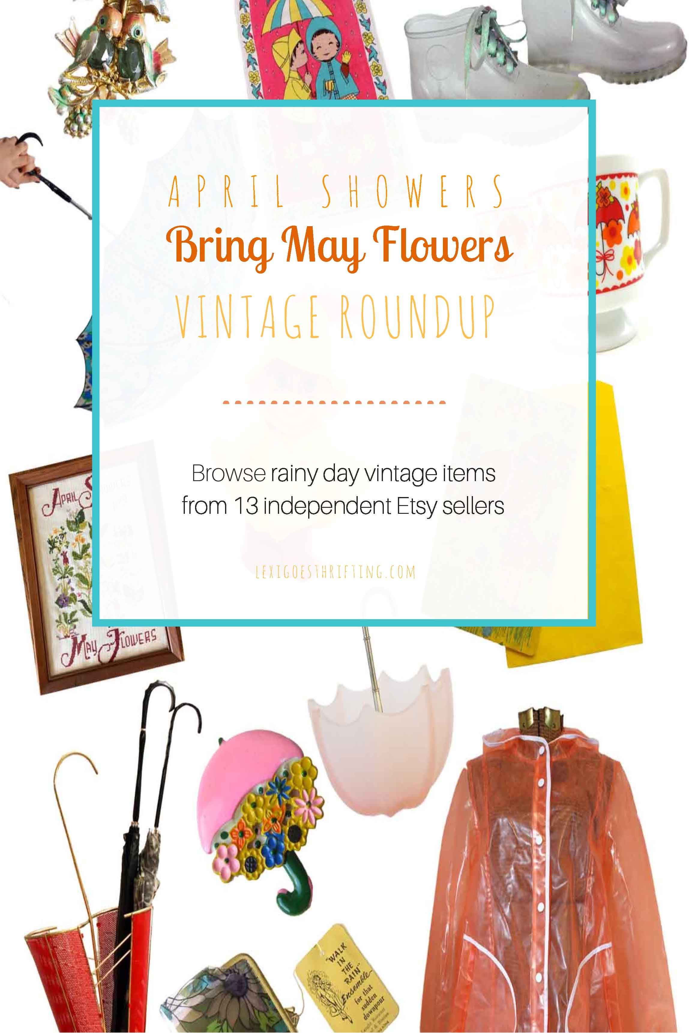 Vintage Etsy Roundup April Showers Bring May Flowers April