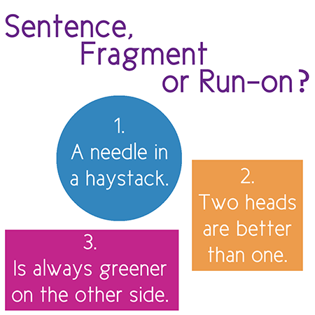 help with run on sentences An imperative sentence like run walk can be a run-on even if it only has two words while some sources view comma splices as a form of run-on sentence, others limit the term to independent clauses that are joined without punctuation see.