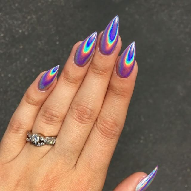First Time Getting #holographic #nails !! They Are SO