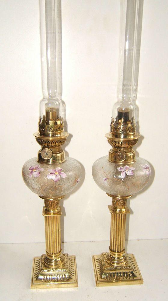 Belle Paire D Anciennes Petites Lampes A Petrole De Piano
