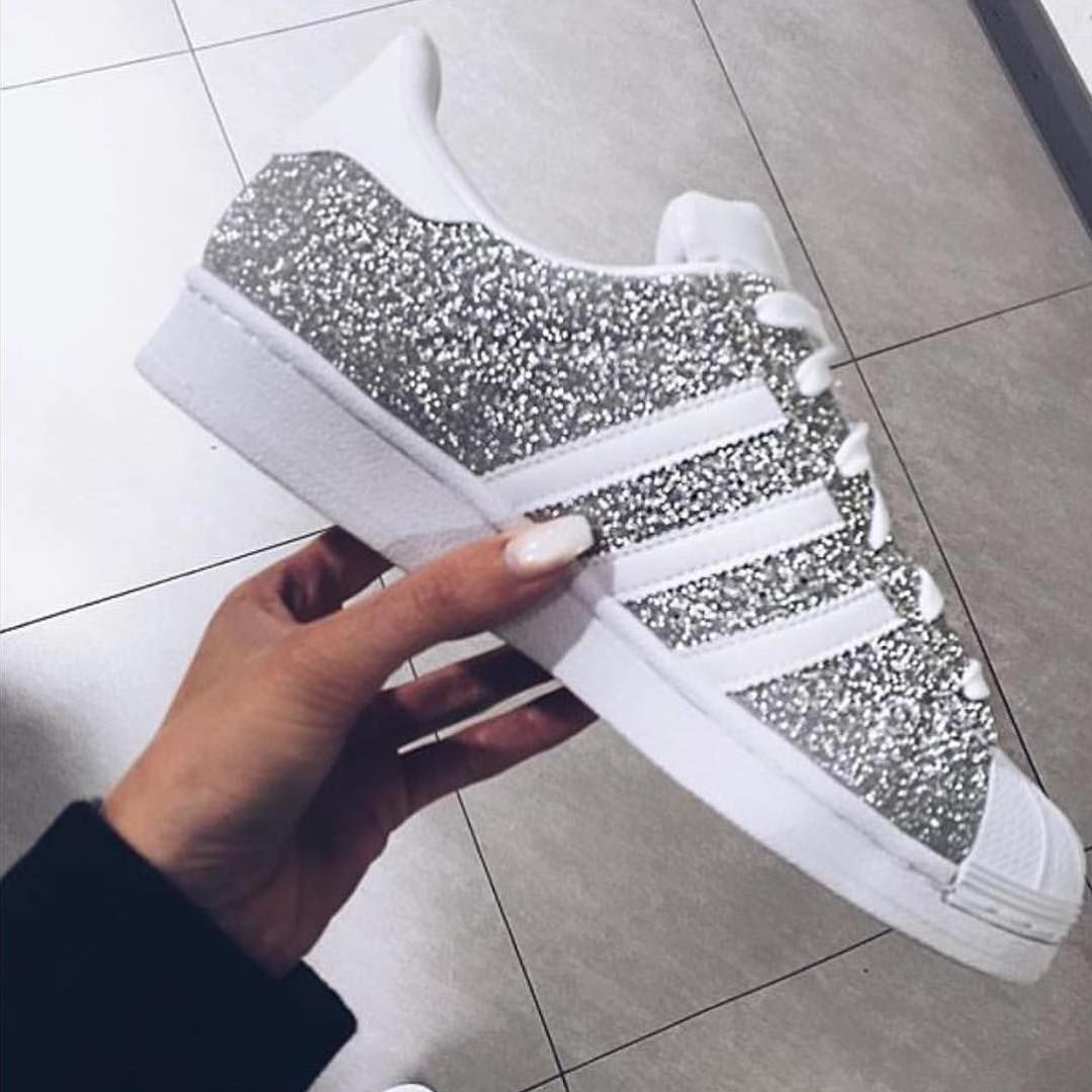 7c094aaca32 Glittered Silver & White adidas 'Superstar' Sneakers @yesadidas ♡♥♡♥♡♥