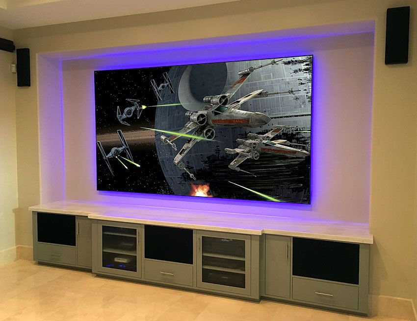 Custom Built In Entertainment Center Below A Huge Movie Projection