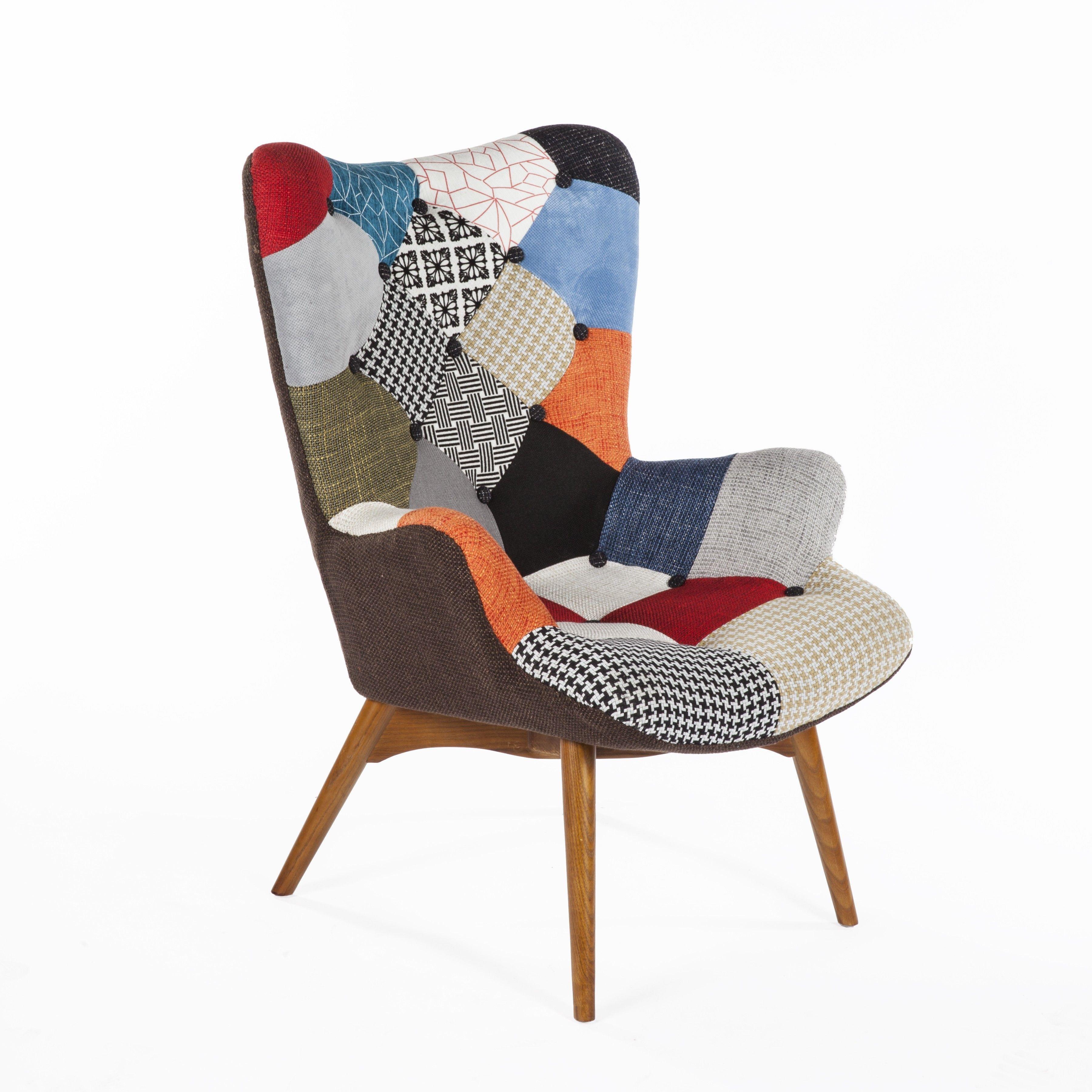 Contour lounge chair in multicolored patchwork contour lounge chair in multicolored patchwork modern