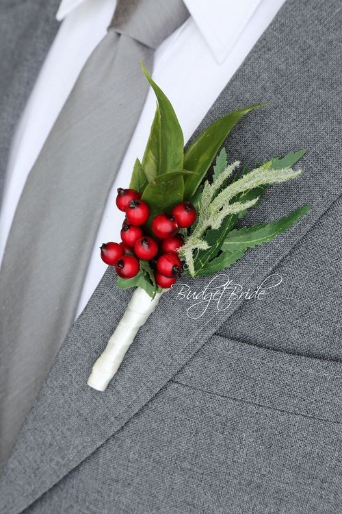 Red Berries Groom Wedding Boutonniere Ideas For Ushers Groomsmen And Fathers Onholes Flowers To