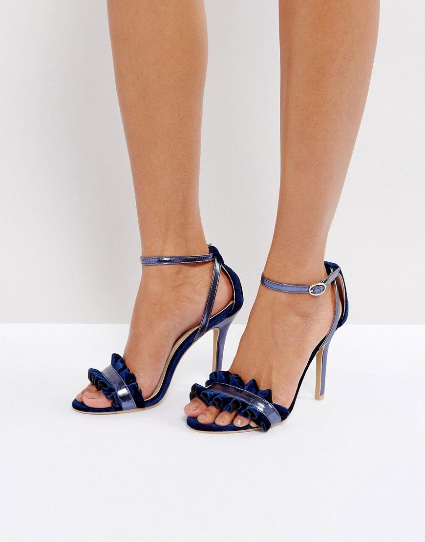6a750eaacdec TRUE DECADENCE FRILL NAVY BARELY THERE HEELED SANDALS - NAVY.   truedecadence  shoes