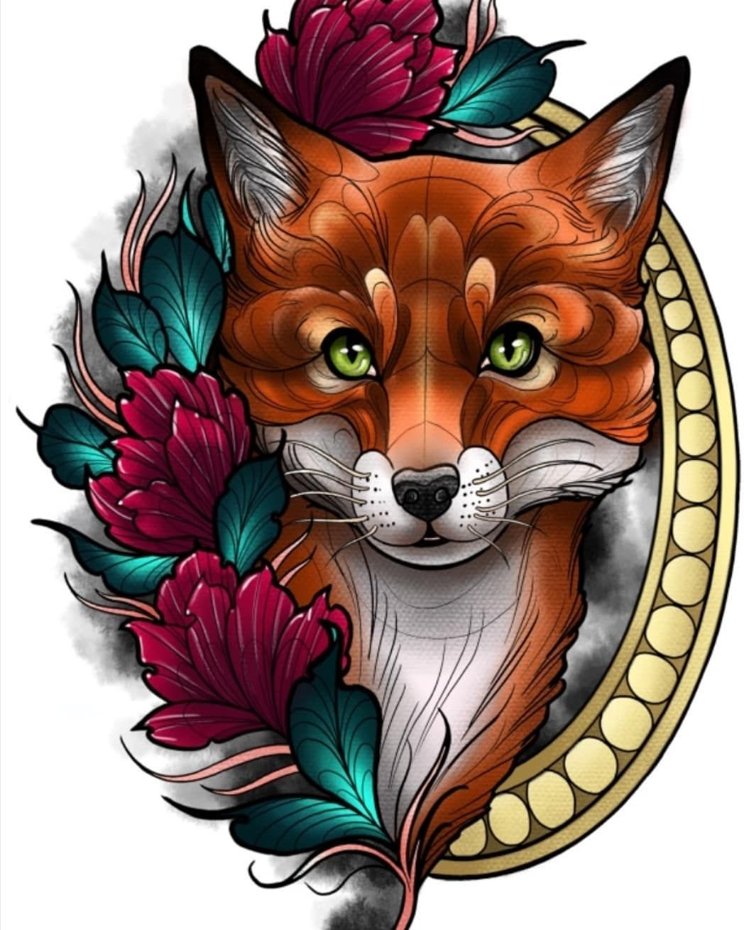 Kitsune Fox Tattoo Fox Tattoo Design Neo Traditional Tattoo