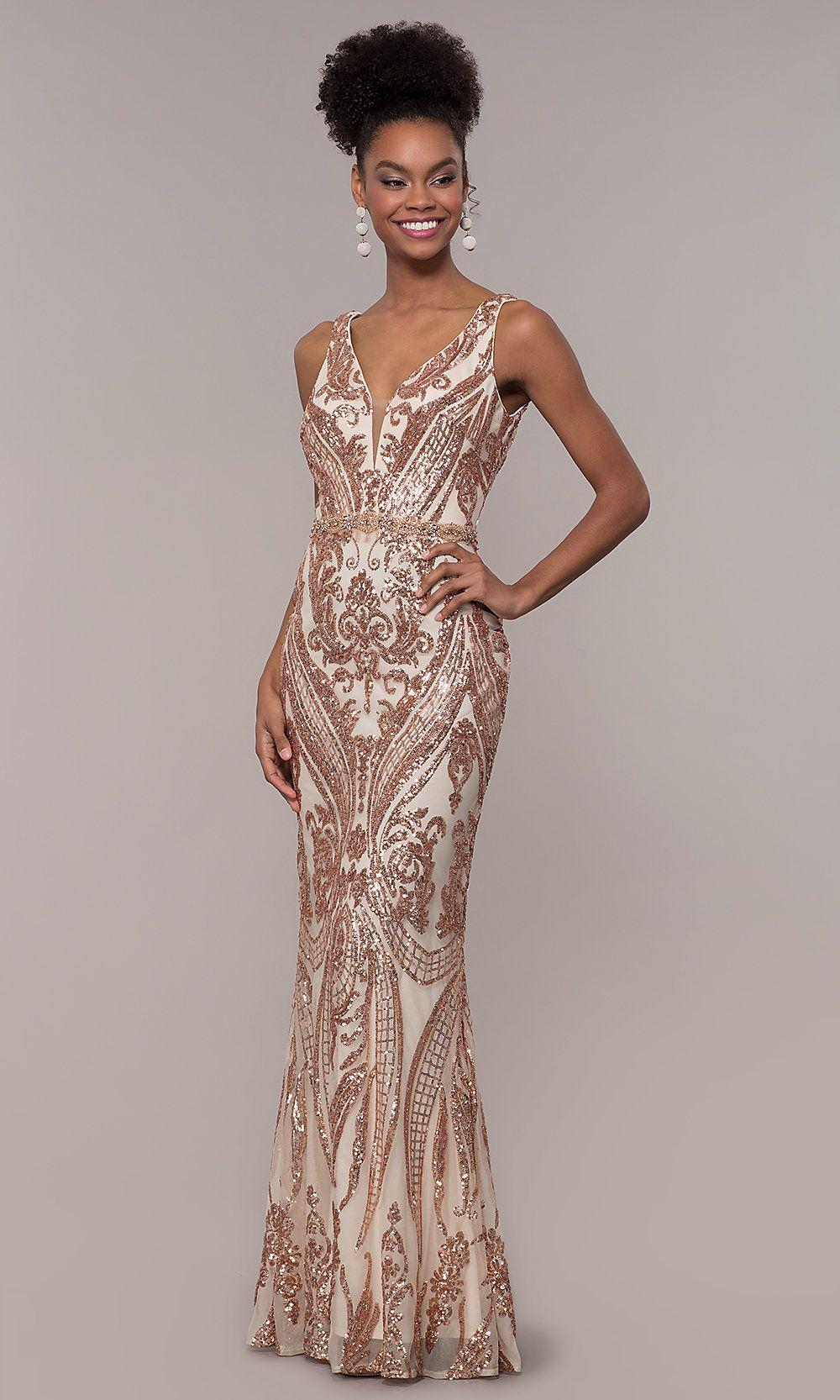Vintage-Inspired Sequin-Mesh Long Prom Dress   Formal prom ...