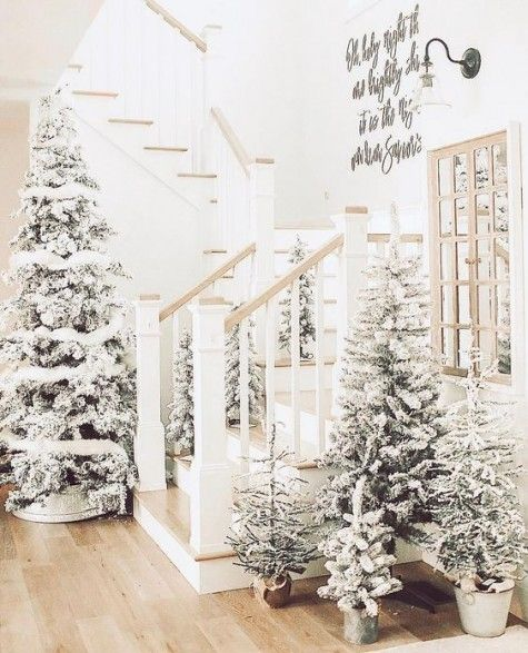 24 Winter Wonderland Home Decor Ideas Comfydwelling Com Winter Wonderland Home Decor I Christmas Tree Forest Farmhouse Christmas Flocked Christmas Trees