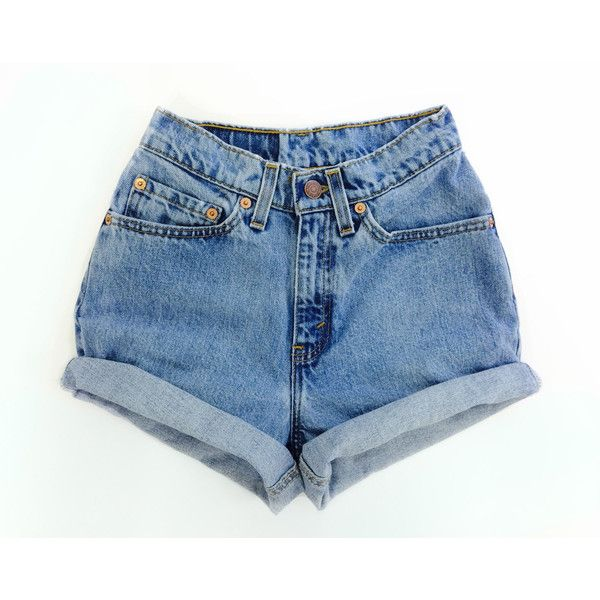f221e609ea Levis High Waisted Cuffed Denim Shorts Rolled Up Denim Shorts bleached...  ($59) ❤ liked on Polyvore featuring shorts, high-waisted jean shorts, denim  short ...