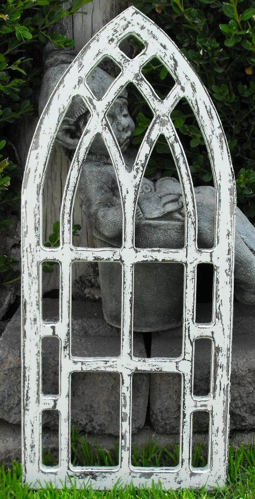 Window frame distressed white gothic arched by for Window arch wall decor