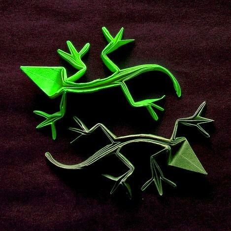 Origami Frill Necked Lizards | Gilad's Origami Page | 469x469
