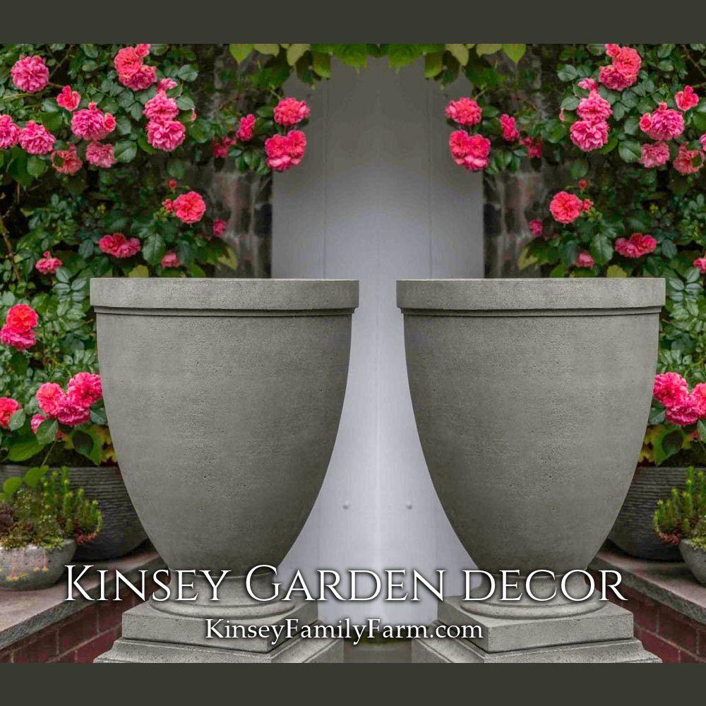 Kinsey Garden Decor Outdoor Urn Elegant Tall Cast Stone Planters Modern Landscape Ideas Garden Urns Patio Container Gardening Urn Planters