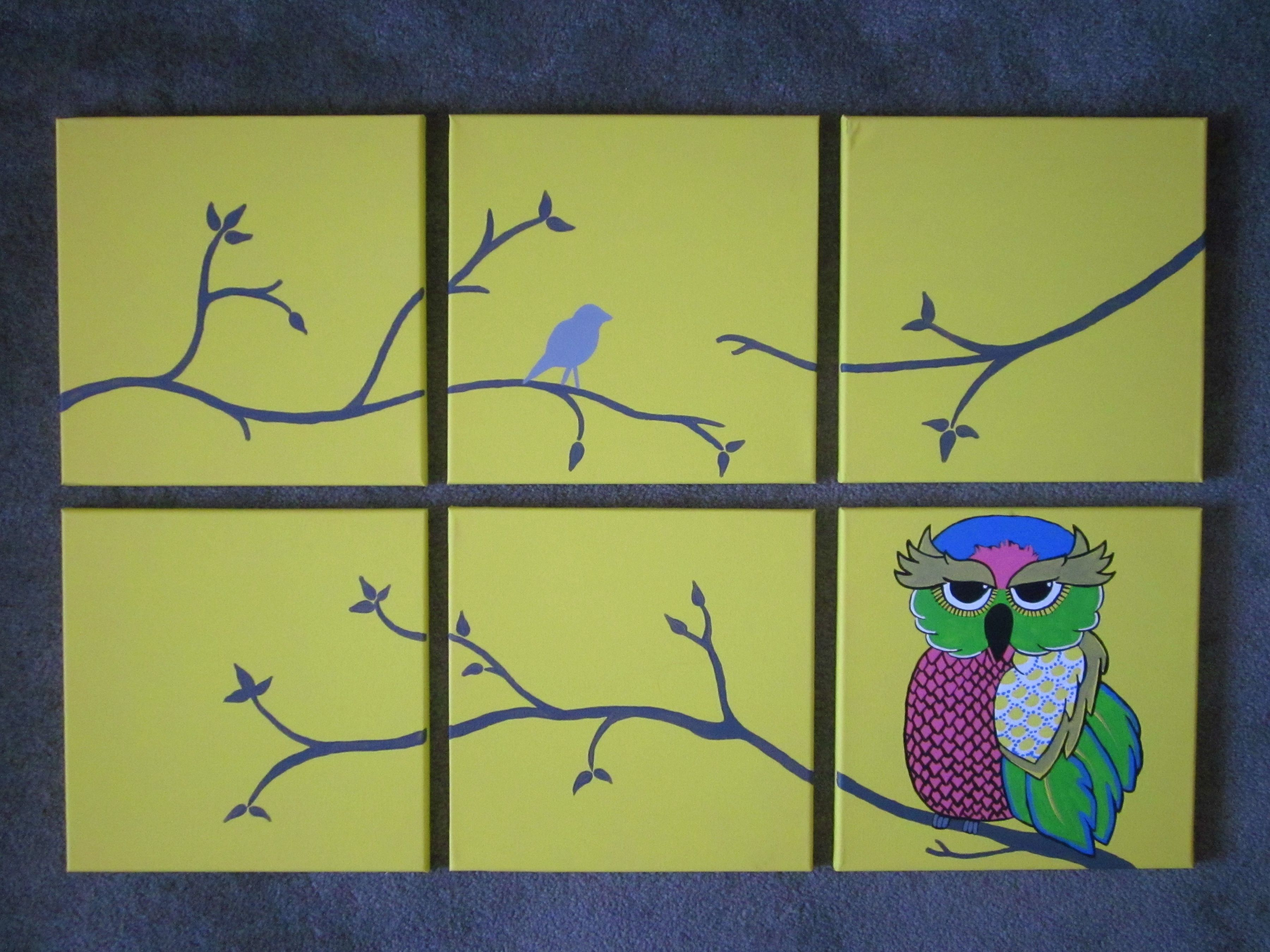 Multi canvas painting for my bedroom branches and owl i for Multi canvas art diy