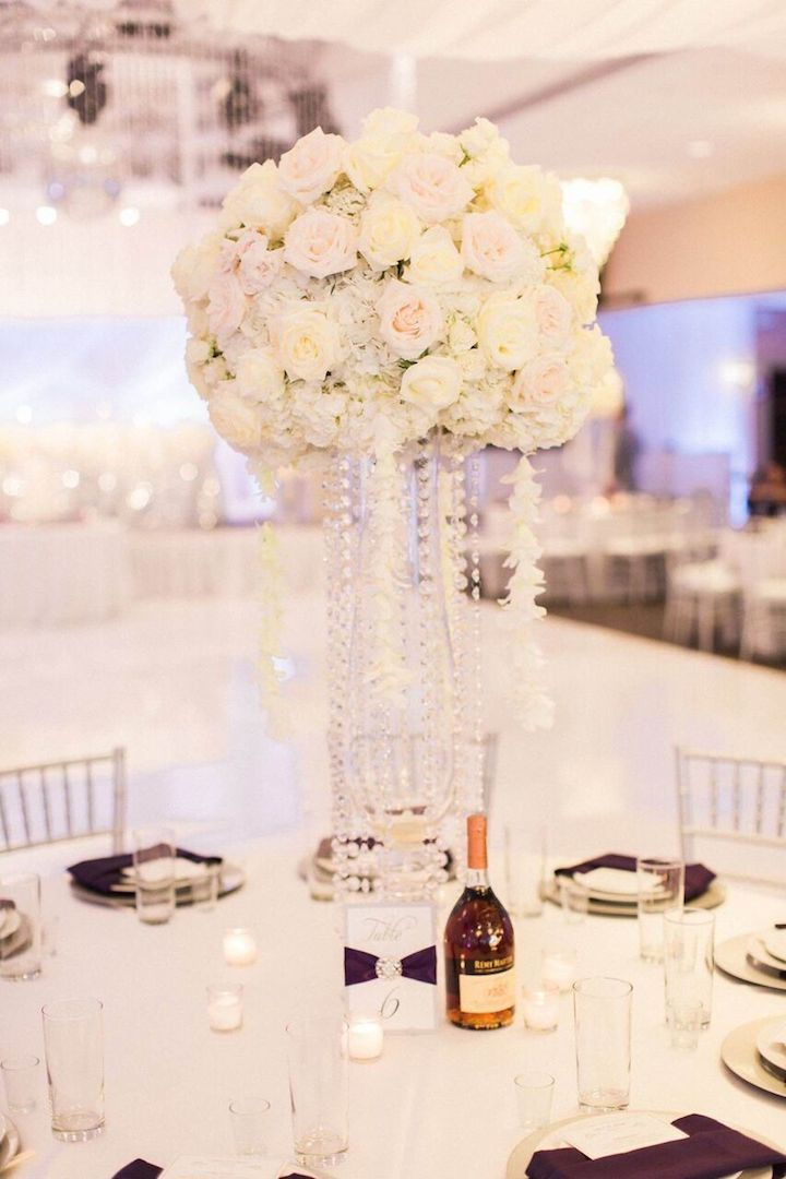 Shimmer Silver and Purple California Wedding Wedding reception