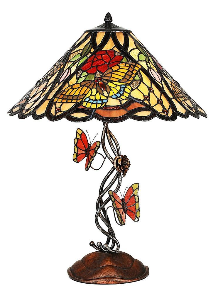 Tiffany Style Butterfly Stained Glass Elaborate Base Table Light