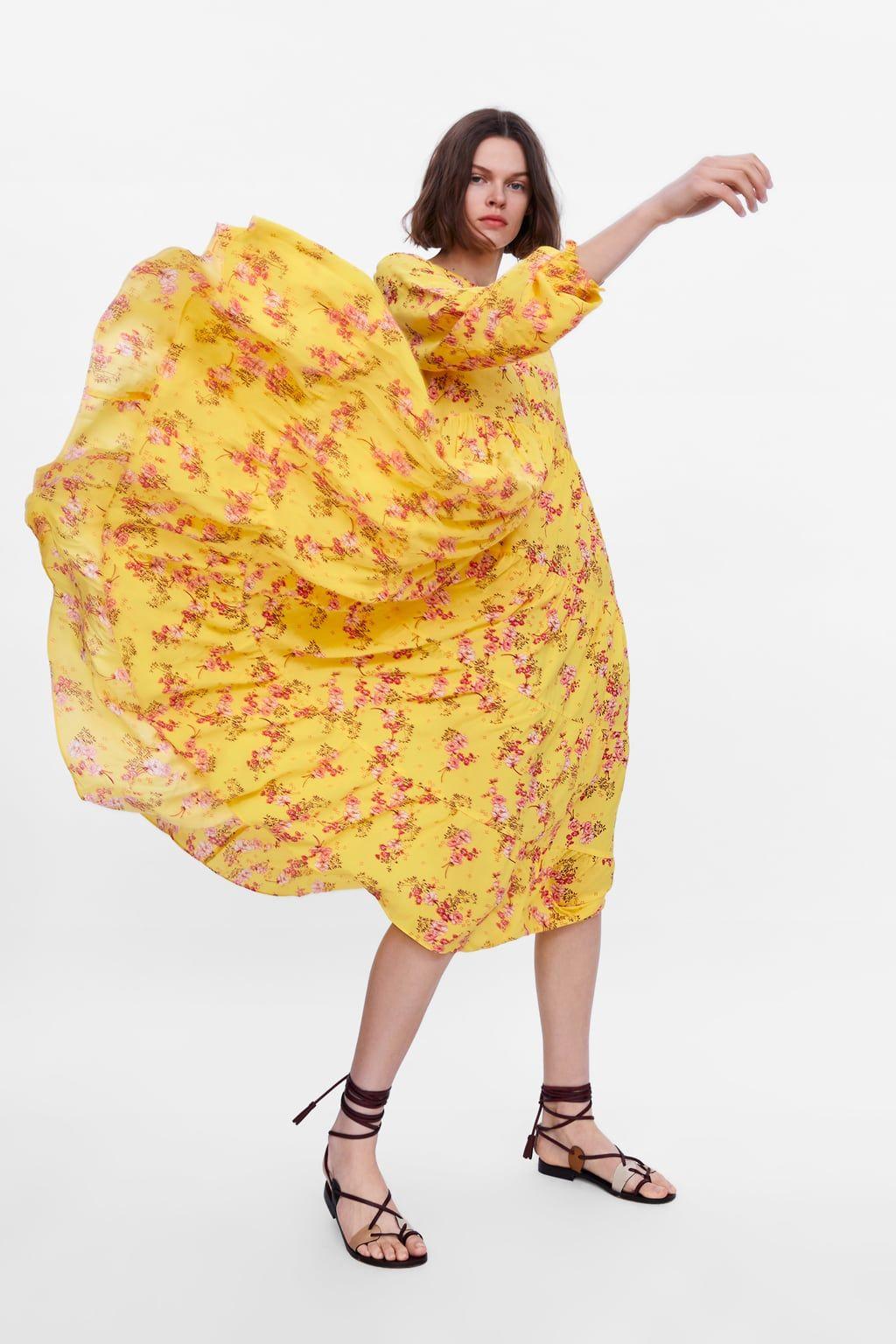 Vestido Estampado Floral In 2019 Yellow Floral Dress