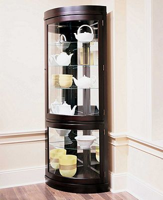 Contemporary Curved Corner Curio Cabinet