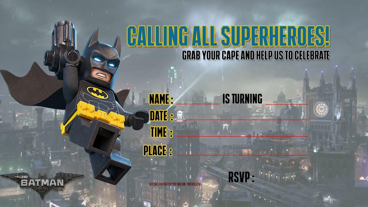 Free Printable Lego Batman The Movie Invitation Template
