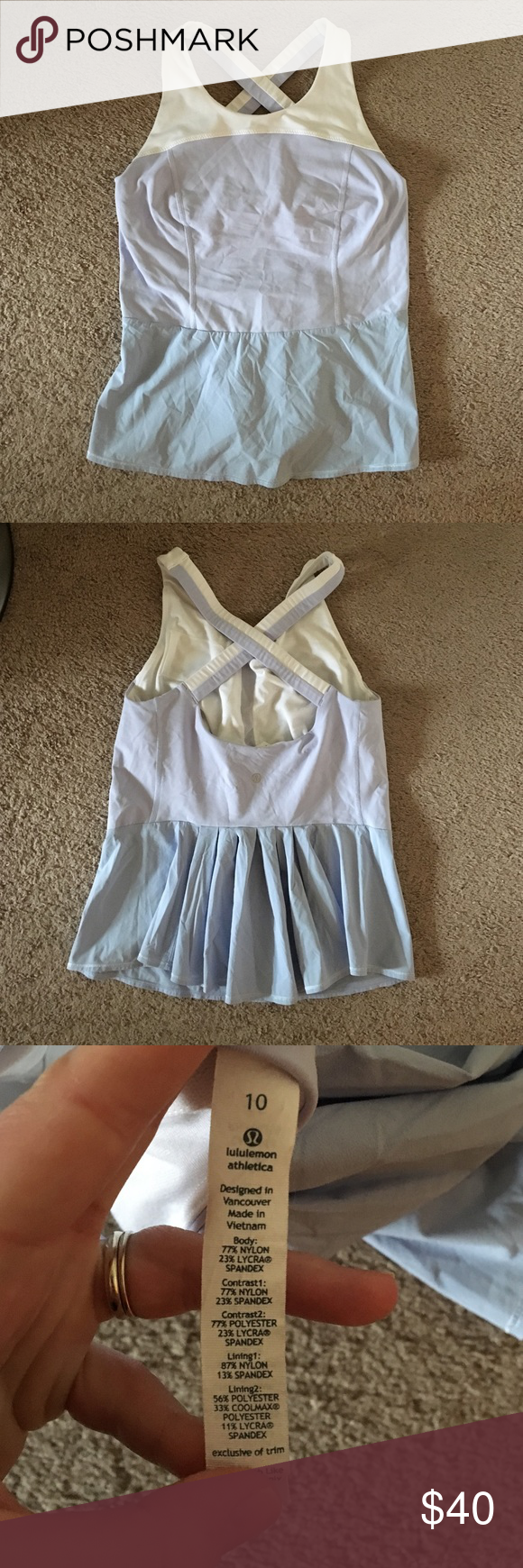 Lululemon cross back peplum tank Only worn a couple of times, adorable pleated back, crossback straps. Soft lilac and white, built in bra with small keyholder pocket lululemon athletica Tops