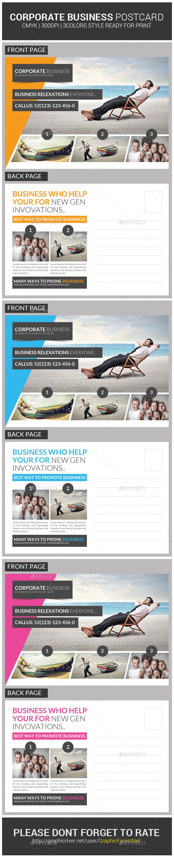 Corporate Business Postcard Template PSD Download Here Graphicriver