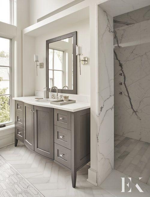 Doorless walk-in shower behind vanity wall area - gorgeous ...