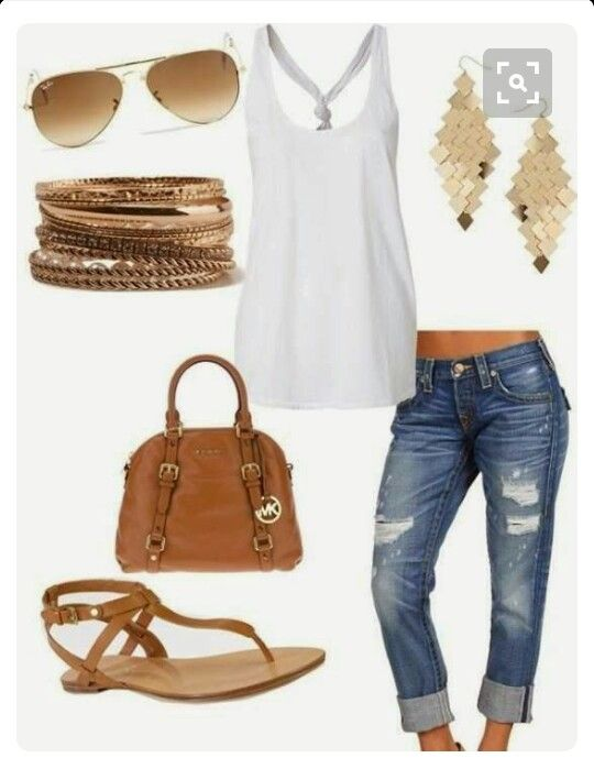 Casual spring outfit. Denim Capri and white tank top
