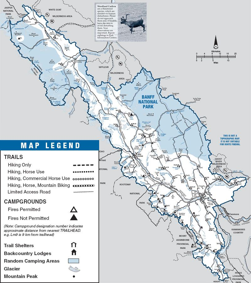 Map of backpacking trails and backcountry campgrounds located in