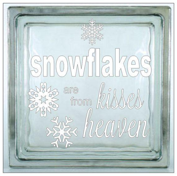 Items Similar To Glass Block Vinyl Decal Snowflakes Are Kisses - Glass block vinyl decals