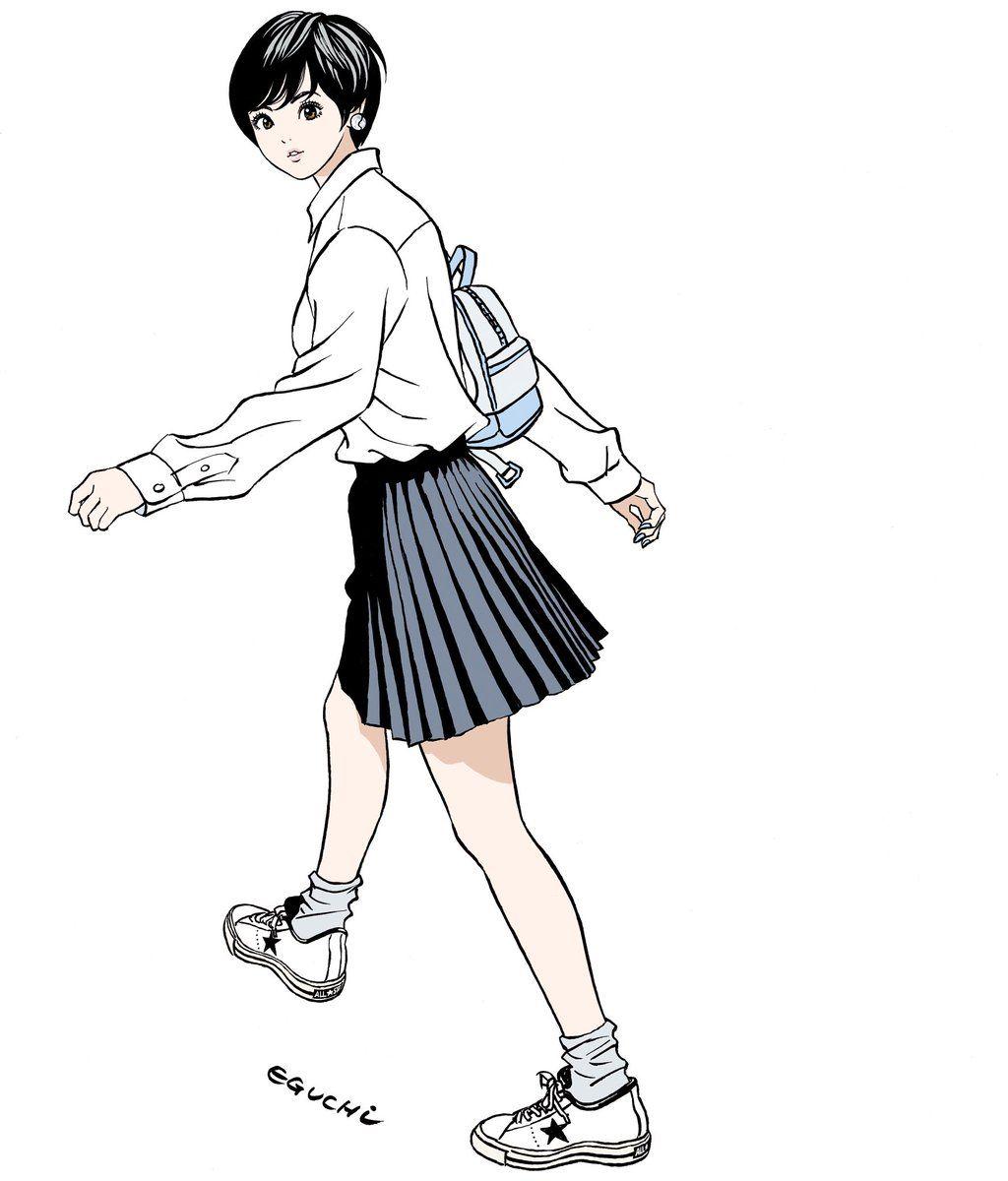 ショートカット久々に描いた 江口寿史 江口寿史 イラスト アニメ
