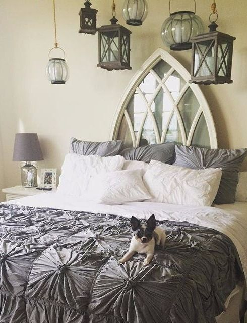 Wonderful I Donu0027t Care For The Comforter But I Like The Gothic Window Headboard And  The Hanging Lanterns   Bedroom