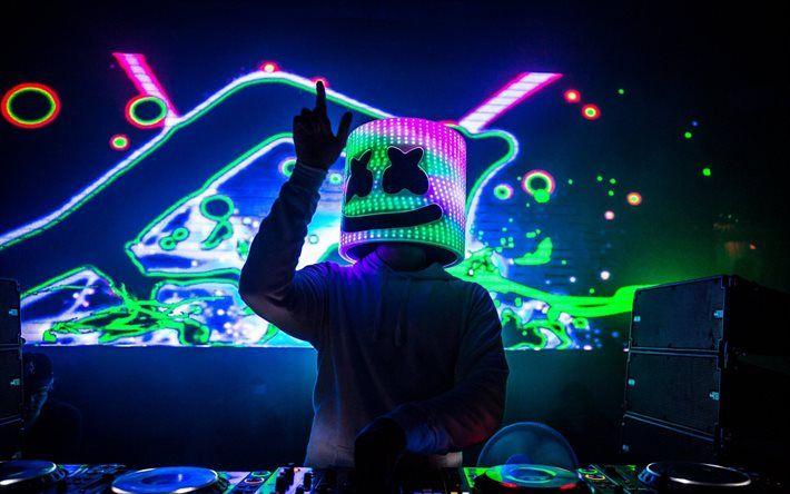 Download wallpapers Marshmello, night club, DJ, neon light