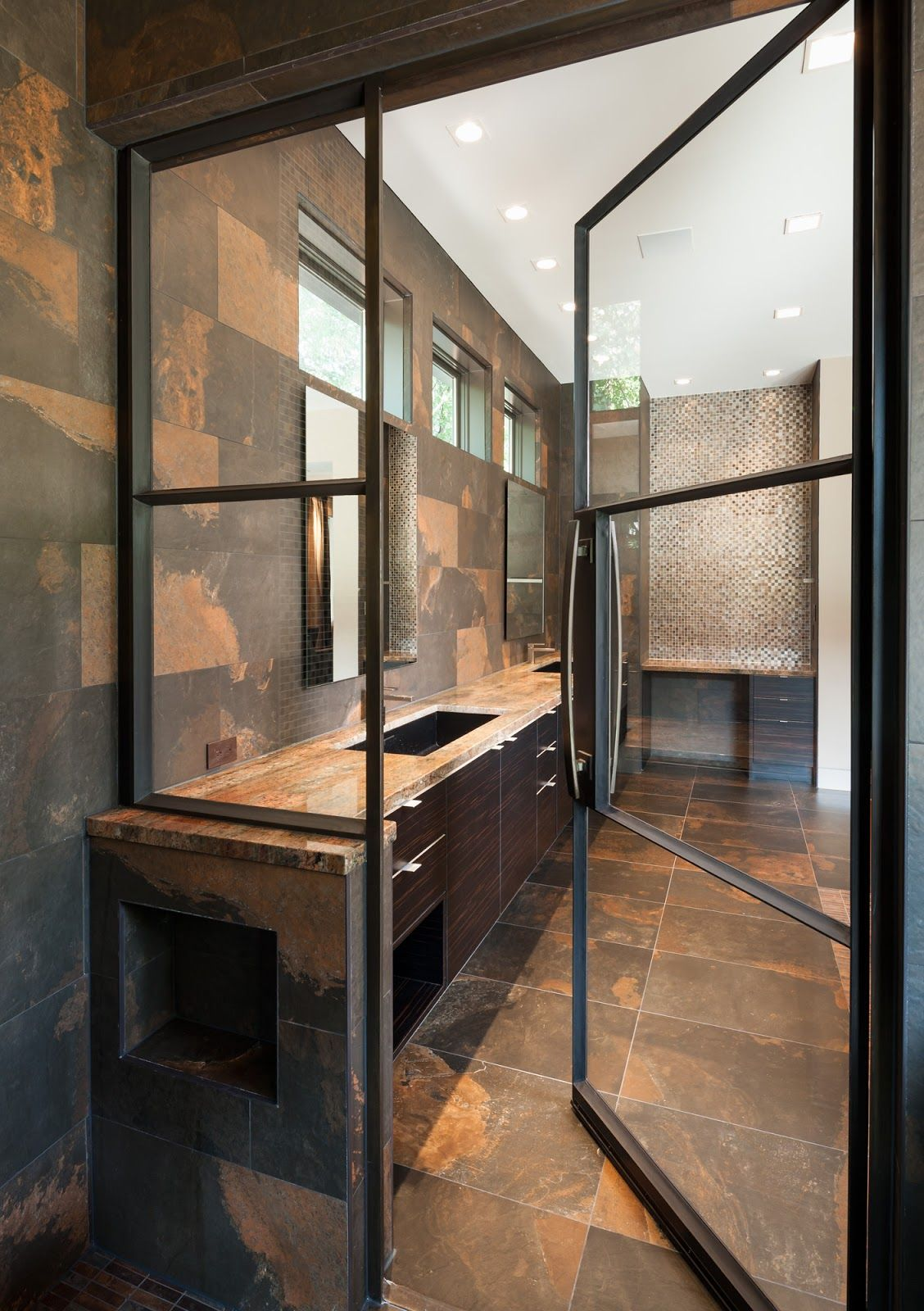 Portella Projects: Steel Doors Used In Bathroom Shower Enclosure and ...