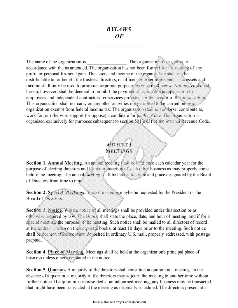 Non Profit Bylaws Template For Non Profit Organizations With Sample Profit Non Profit Board Of Directors