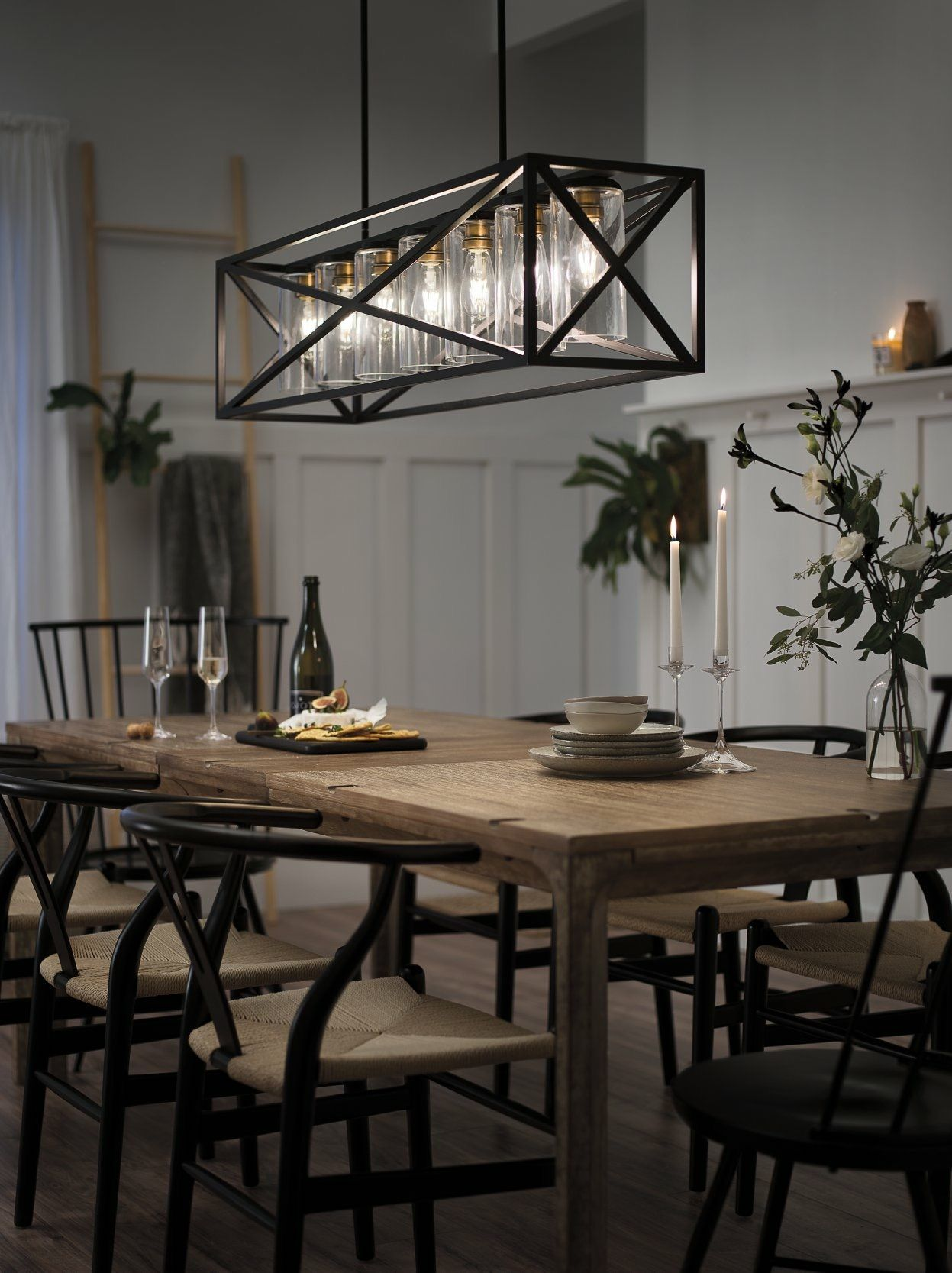 Kichler Linear Chandelier In Dining Room Farmhouse Dining Room Lighting Dining Room Chandelier Modern Farmhouse Lighting