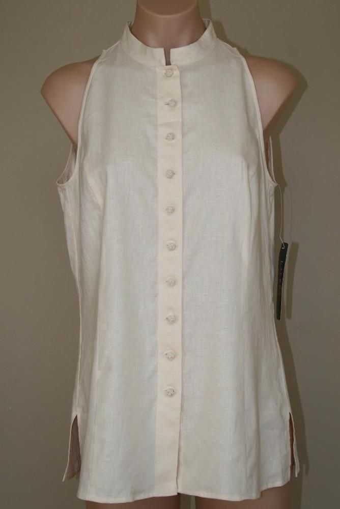 Lauren Ralph Lauren 100% Linen Cream Sleeveless Mandarin Collar Top Tunic Sz 10 #LaurenRalphLauren #Tunic