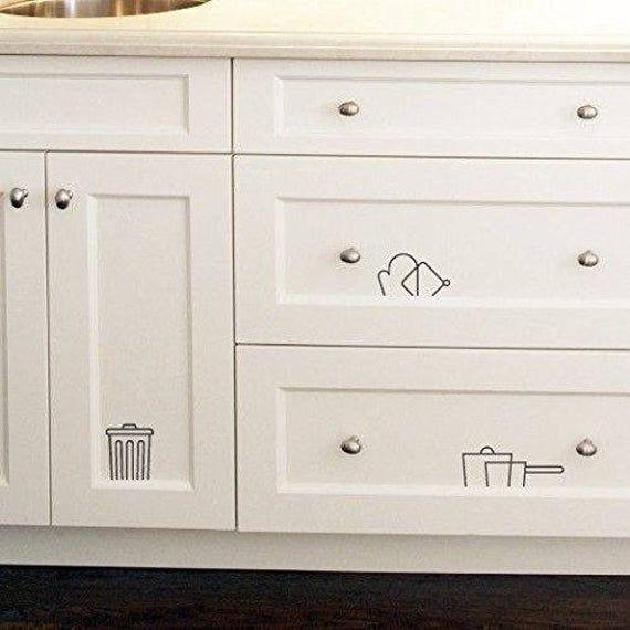 Kitchen Cabinet Decal Logo Vinyl Stickers Modern Cupboard