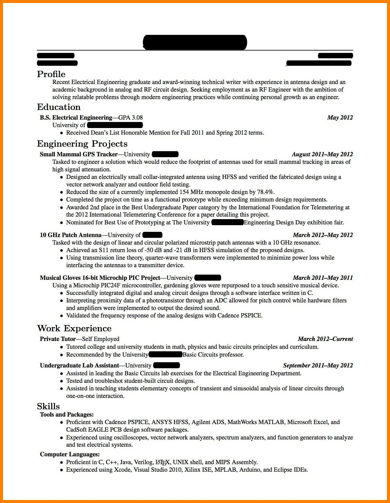 Fresher Resume format Mechanical Engineer Pdf in 2020
