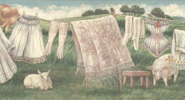 Vintage Country Clothes Line Wallpaper Border Vintage Drawing Clothes Line Drawing Images