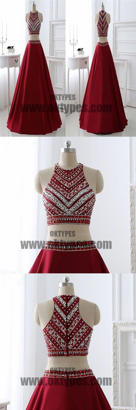 Red two piece beading prom dresses halter prom dresses zipper prom