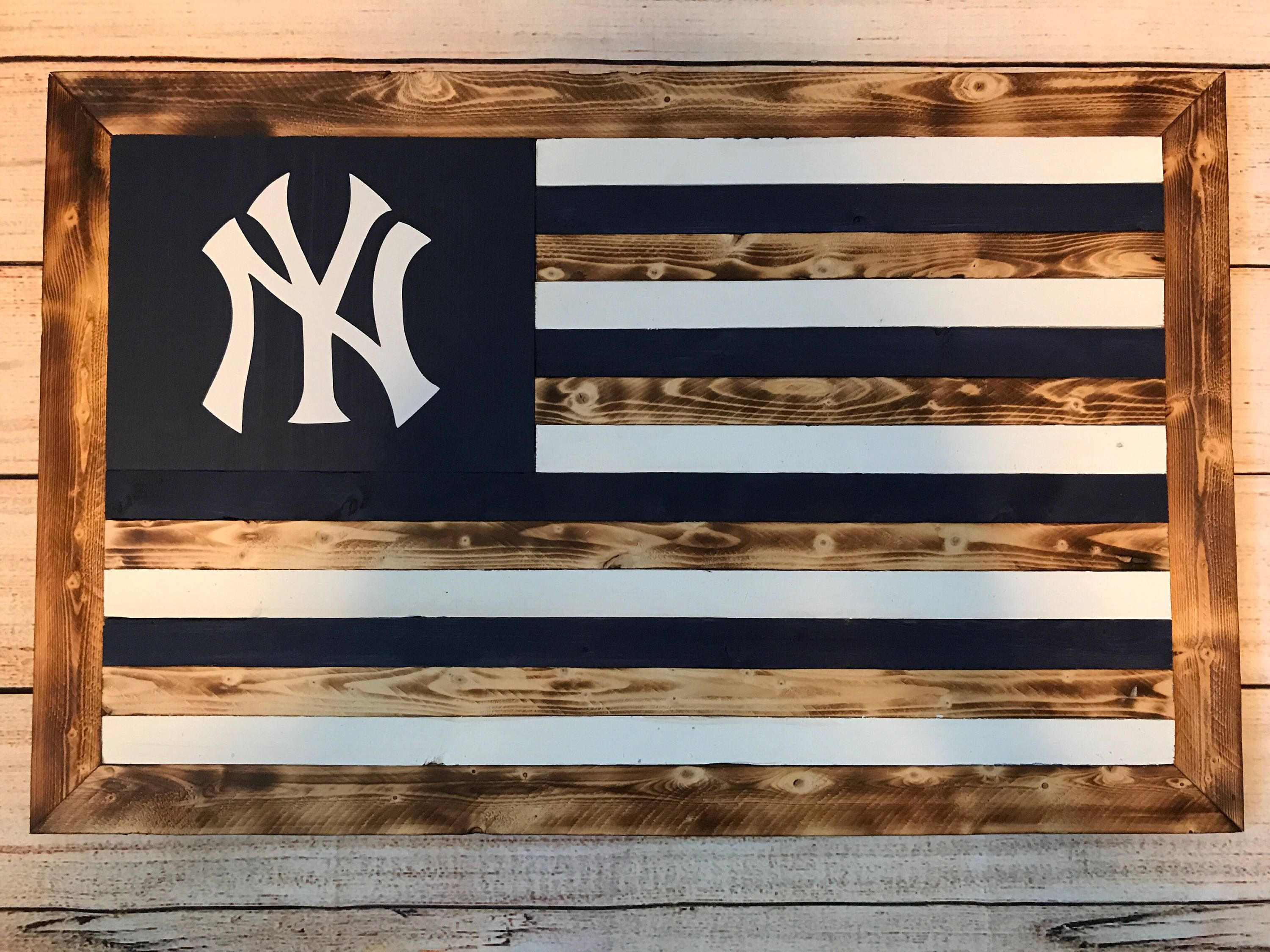 Wooden Yankees Flag 55 Etsy Com Shop Kaiusandco Wooden Flag Wooden American Flag