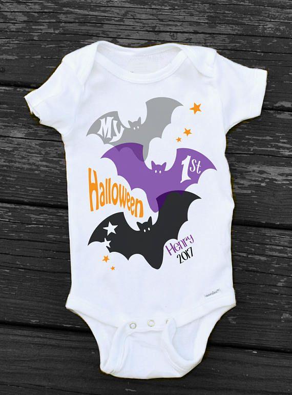 b0eb6f535 My First HALLOWEEN Bat Onesie Personalized Halloween Bodysuit | Baby ...