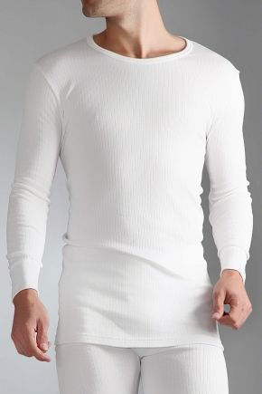 Men's Heat Holders Long Sleeved Themal Vest - White - In Med/Large/Extra Large and XXL