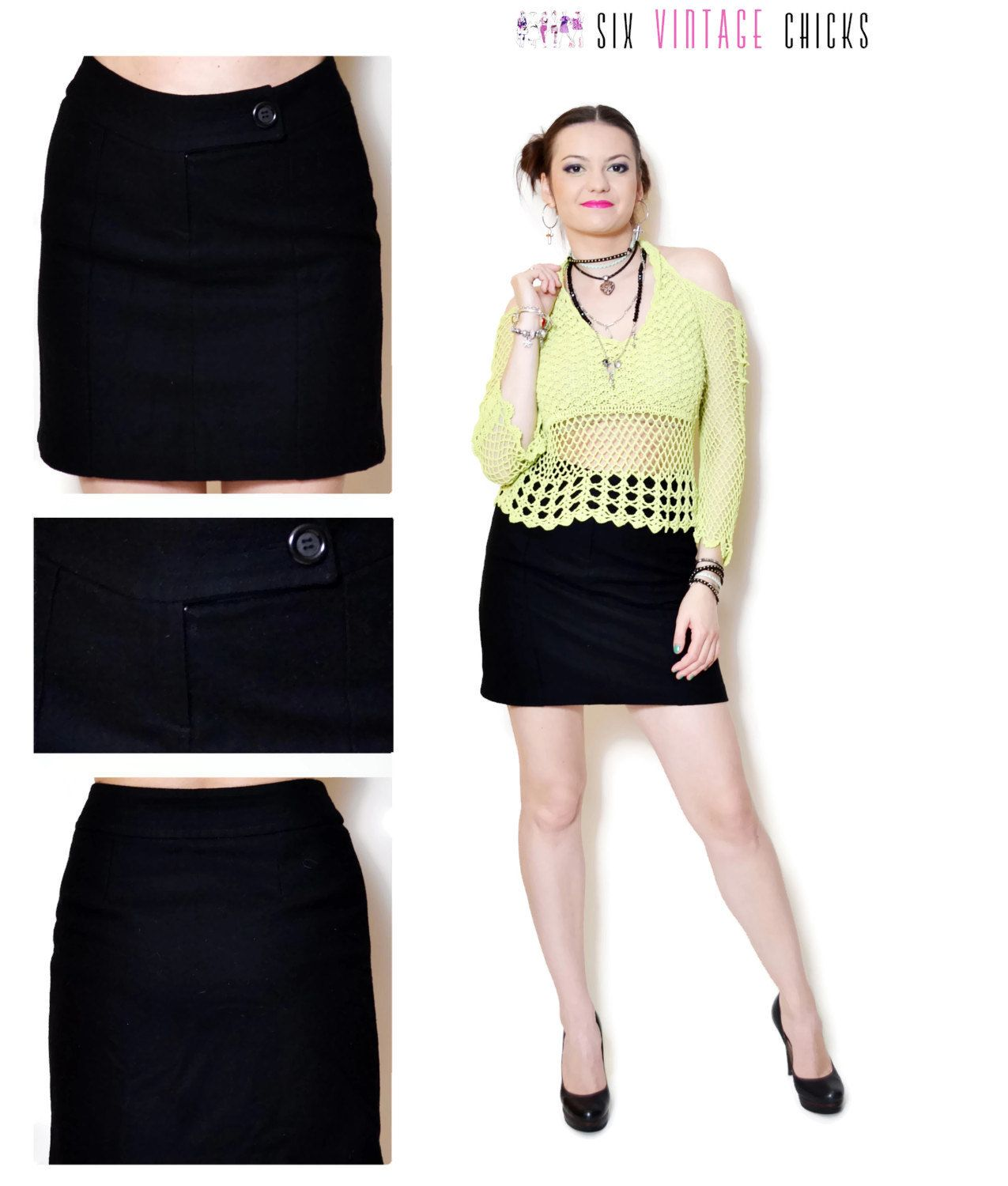 9e391acbc4 Wool Skirt Vintage high waisted skirt mini skirt women clothing office  clothes black 90s clothing vintage Minimalist rocker sexy gifts S by  SixVintageChicks ...