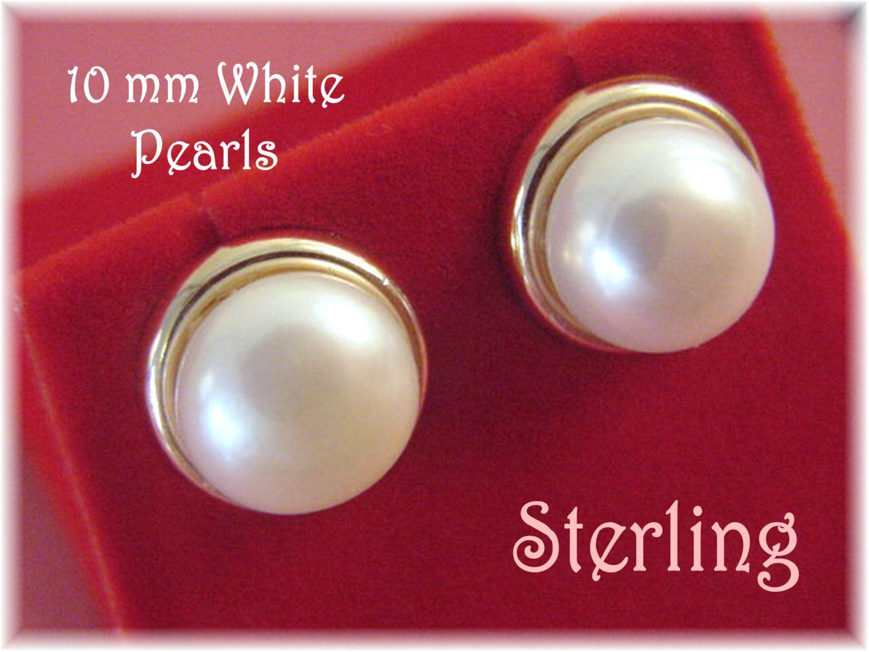 Akoya - 10 mm Genuine White Pearl Gold Vermeil Sterling Silver Framed Stud Earrings - Iridescent Glow - Red Velvet Gift Box -  FREE SHIPPING