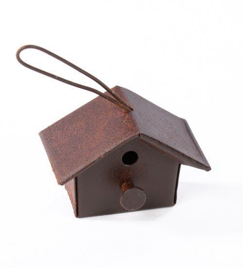 Miniature Dollhouse FAIRY GARDEN Accessories ~ Rustic Rust Tin Birdhouse ~ NEW
