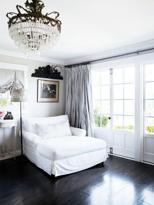 Black Floor Light Gray Walls Slightly Darker Curtains White Trim Black Hardware White Furniture Home Home Decor Decor Inspiration