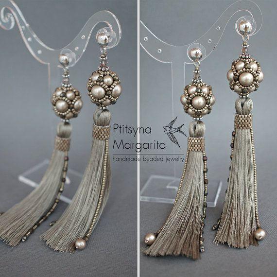 Long tassel earrings Greige earrings with by RitaLovelyBeads