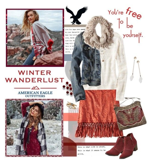 """""""Winter Wanderlust with American Eagle: Contest Entry"""" by grapecrush ❤ liked on Polyvore featuring American Eagle Outfitters, American West and aeostyle"""