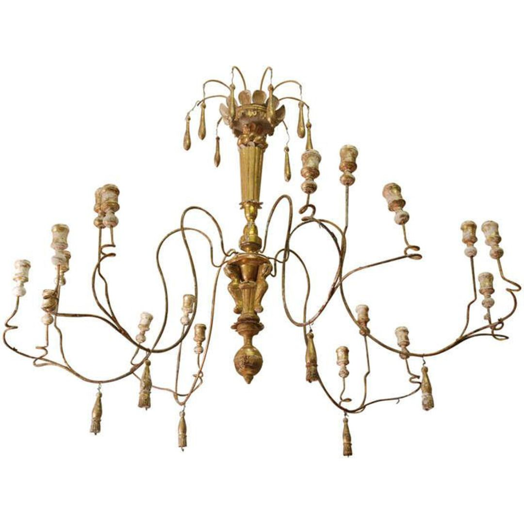 Large Italian Gilt Wood Candlestick Chandelier Six Arms